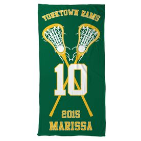 Lacrosse Beach Towel Personalized Team with Crossed Sticks