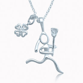 Livia Clover Charm With Lacrosse Girl Stick Figure Charm