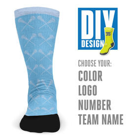 Customized Printed Mid Calf Team Socks Girls Lacrosse Sticks Pattern