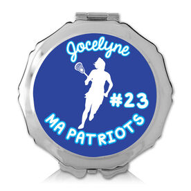 Personalized Lacrosse Girl Color Compact Mirror