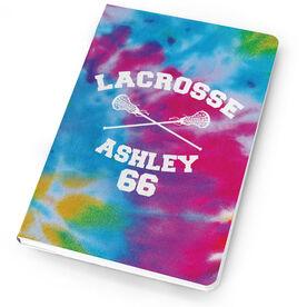 Girls Lacrosse Notebook Tie Dye Pattern with Lacrosse Sticks