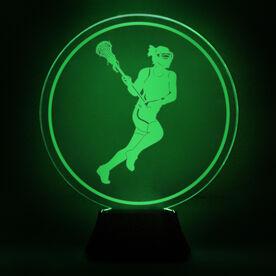 Girls Lacrosse Acrylic LED Lamp Lax Girl