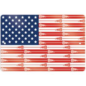"Girls Lacrosse 18"" X 12"" Aluminum Room Sign USA Stick Flag (Girls Sticks)"