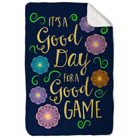 Girls Lacrosse Sherpa Fleece Blanket It's A Good Day For A Good Game