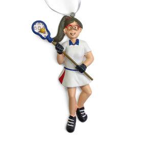 CTS - Lacrosse Player Resin Figure Ornament (Brunette Female)