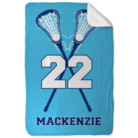 Girls Lacrosse Sherpa Fleece Blanket Personalized Player with Crossed Sticks