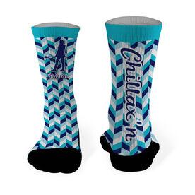 Girls Lacrosse Printed Mid Calf Socks Personalized Chillax'n Female Silhouette