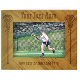Girls Lacrosse Bamboo Engraved Picture Frame Your Text