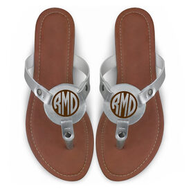 Engraved Thong Sandal Circle Monogram