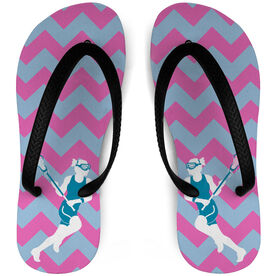 Girls Lacrosse Flip Flops Chevron Pattern With Player Silhouette