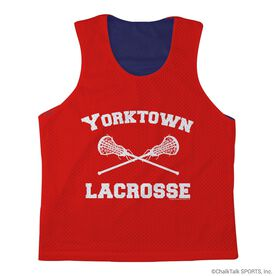 Girls Lacrosse Racerback Pinnie Lacrosse Team with Solid Color - Navy Interior