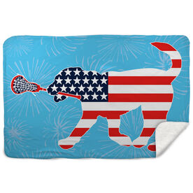 Girls Lacrosse Sherpa Fleece Blanket Patriotic LuLa the Lax Dog