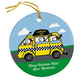 Girls Lacrosse Porcelain Ornament Taxi