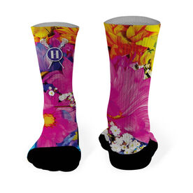 Lacrosse Printed Mid Calf Socks Monogram with Crossed Sticks and Colorful Flowers