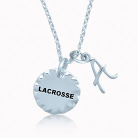 Livia Scalloped Lacrosse Charm With Initial Charm
