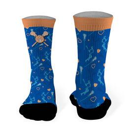 Girls Lacrosse Printed Mid Calf Socks Personalized Monogram with Lacrosse Girl Pattern