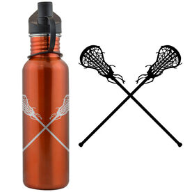 Lacrosse Sticks (F) 24 oz Stainless Steel Water Bottle