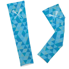Lacrosse Printed Arm Sleeves Triangles with Lacrosse Sticks