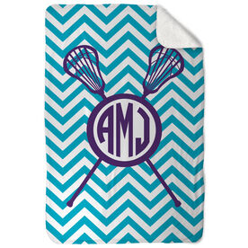 Girls Lacrosse Sherpa Fleece Blanket Monogram with Crossed Sticks and Chevron
