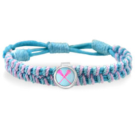 Lacrosse Crossed Sticks Blue Adjustable Woven SportSNAPS Bracelet