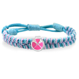 Lacrosse Crossed Sticks Enamel Pink Adjustable Woven SportSNAPS Bracelet