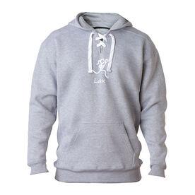 "Lacrosse Players Only Sweatshirt - ""Lax"" Girl (Stick Figure-w/word)"