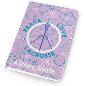 Girls Lacrosse Notebook Peace Love Lacrosse Flowers