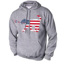 Girls Lacrosse Standard Sweatshirt Patriotic LuLa the Lax Dog