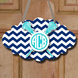 Monogrammed Chevron Pattern with Crossed Sticks Decorative Cloud Sign