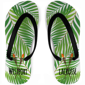 Girls Lacrosse Flip Flops Tropical Custom Team Name
