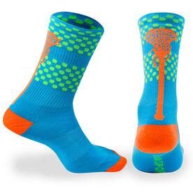 Girls Lacrosse Woven Mid Calf Socks - Tropic (Blue/Green/Orange)