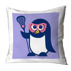 Girls Lacrosse Throw Pillow Lax Penguin