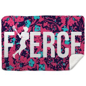 Girls Lacrosse Sherpa Fleece Blanket Fierce