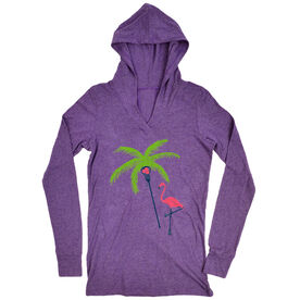 Girls Lacrosse Lightweight Performance Hoodie Palm Tree and Flamingo