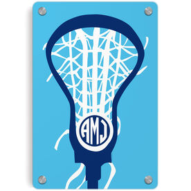 Girls Lacrosse Metal Wall Art Panel - Monogrammed Lax is Life