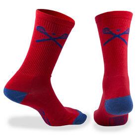 Lacrosse Woven Mid Calf Socks - Crossed Sticks (Red)