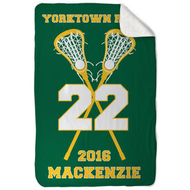 Girls Lacrosse Sherpa Fleece Blanket Personalized Team with Crossed Sticks