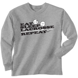 Lacrosse Long Sleeve T-Shirt - Eat Sleep Lacrosse Repeat