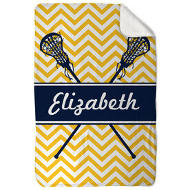Girls Lacrosse Sherpa Fleece Blanket Personalized Girl Lacrosse Sticks Chevron