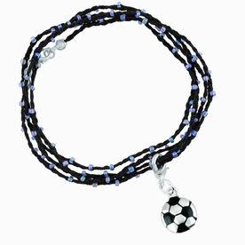 Soccer Beaded Wrap Bracelet - Silver and Black Soccer Ball