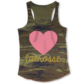 Girls Lacrosse Camouflage Racerback Tank Top - Heart with Lacrosse in Gold Glitter