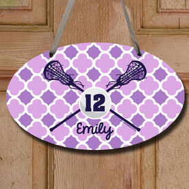 Personalized Lacrosse Sticks And Ball Girl Decorative Oval Sign