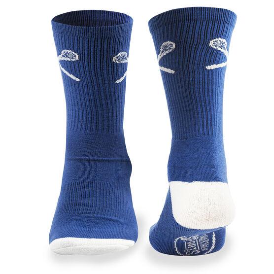 Lacrosse Woven Mid Calf Socks - Crossed Sticks (Blue)