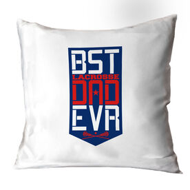 Girls Lacrosse Throw Pillow - Best Dad Ever Shield