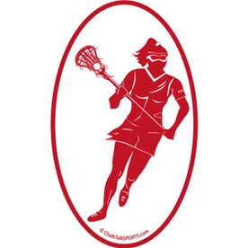 Lacrosse Girl Oval Car Magnet (Red)