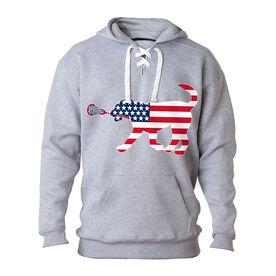 Girls Lacrosse Sport Lace Sweatshirt Patriotic LuLa the Lax Dog
