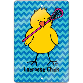 "Lacrosse 18"" X 12"" Aluminum Room Sign Lacrosse Chick Chevron"