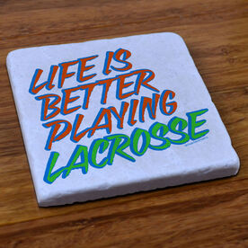 Lacrosse Natural Stone Coaster Life Is Better Playing Lacrosse