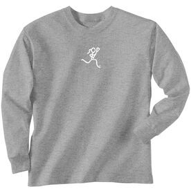 Girls Lacrosse Long Sleeve T-Shirt - Lacrosse Girl White Stick Figure
