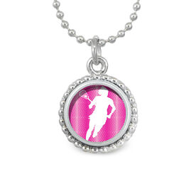 Lacrosse Girl Silhouette SportSNAPS Necklace